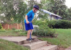 Jumping stairs on pogo stick
