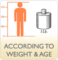 According to weight or age