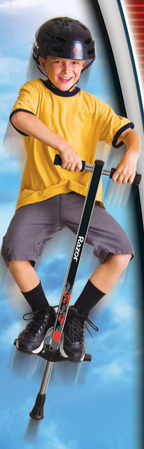 a boy jumping on the Razor pogo stick